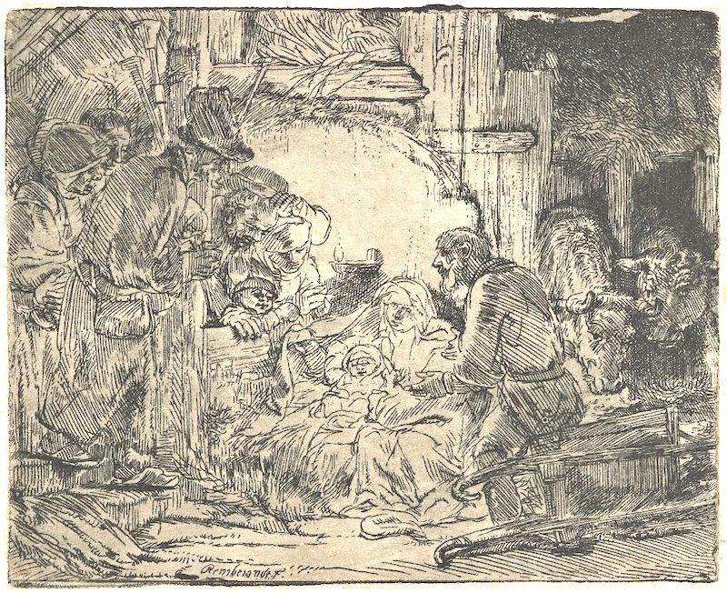 Rembrandt - Adorazione dei pastori, con la lampada